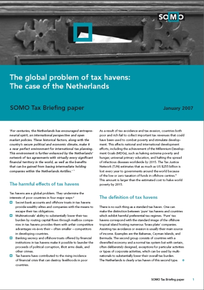 publication cover - The Global Problem of Tax Havens: The Case of the Netherlands