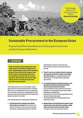 publication cover - Sustainable Procurement in the European Union