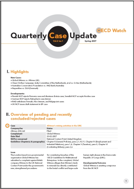 publication cover - OECD Watch Quarterly Case Update Spring 2007