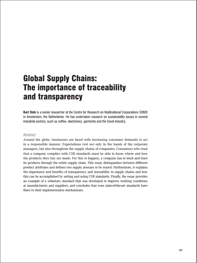 Global Supply Chains: The importance of traceability and