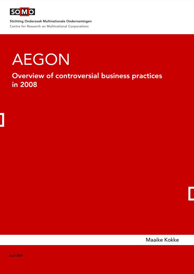 publication cover - AEGON – Overview of controversial business practices in 2008