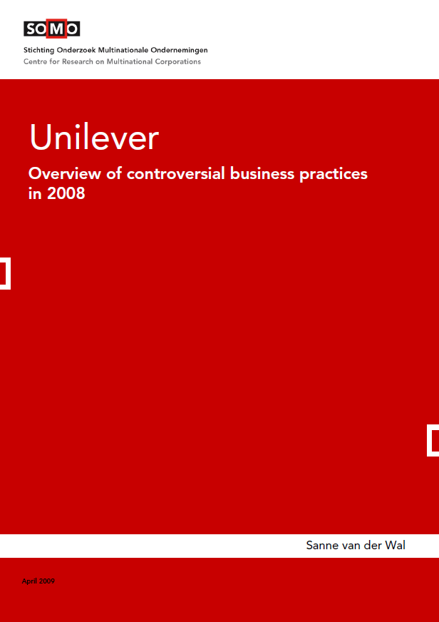 publication cover - Unilever – Overview of controversial business practices in 2008