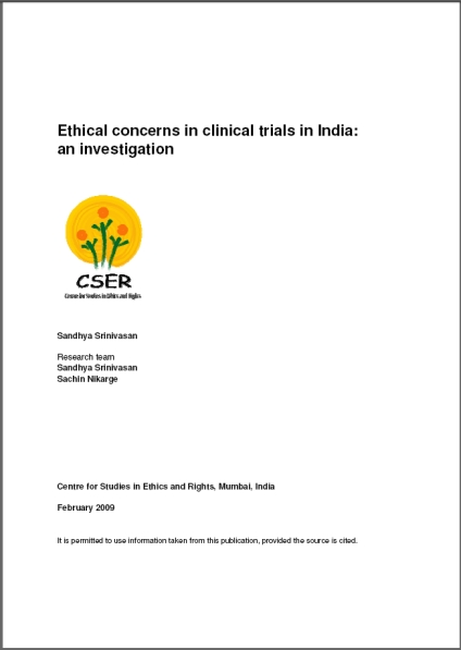 publication cover - Ethical concerns in clinical trials in India