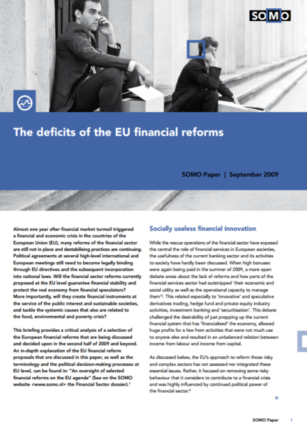 publication cover - The deficits of the EU financial reforms