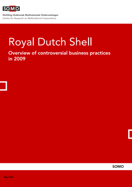 publication cover - Royal Dutch Shell – Overview of controversial business practices in 2009