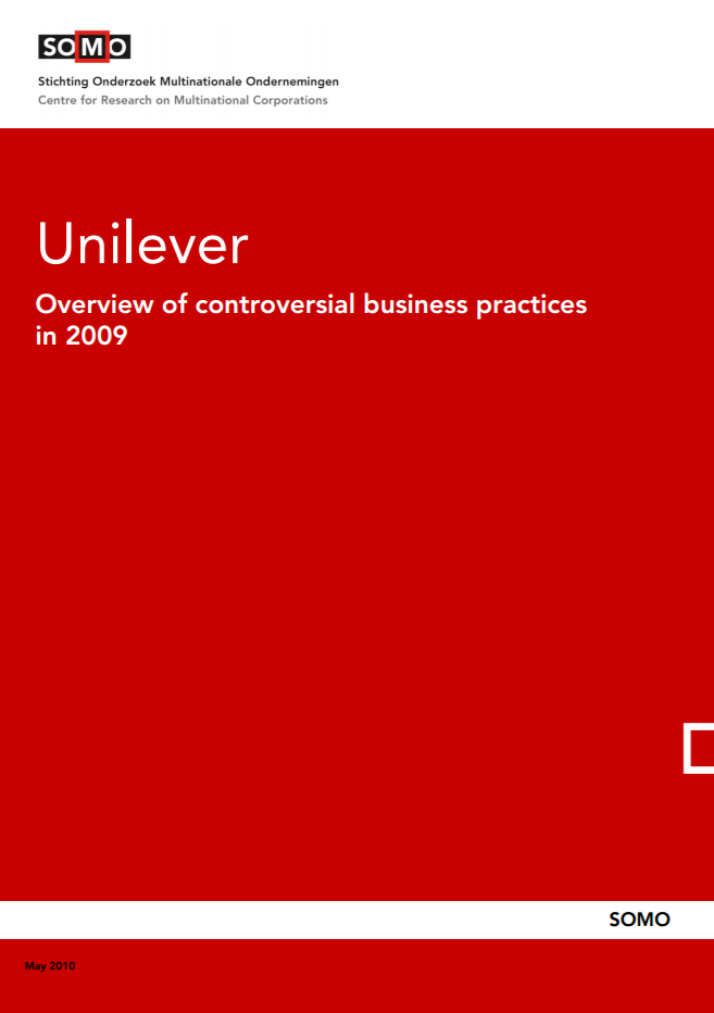 publication cover - Unilever – Overview of controversial business practices in 2009