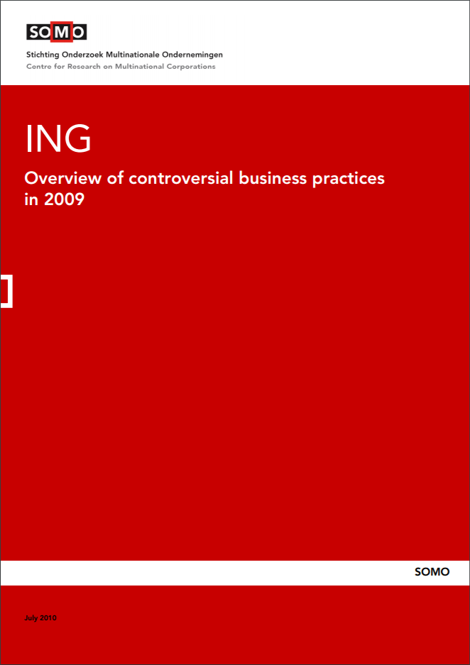 publication cover - ING – Overview of controversial business practices in 2009