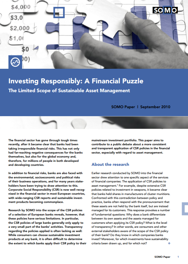 publication cover - Investing Responsibly: A Financial Puzzle