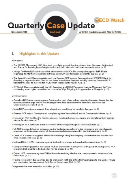 publication cover - OECD Watch Quarterly Case Update November 2010