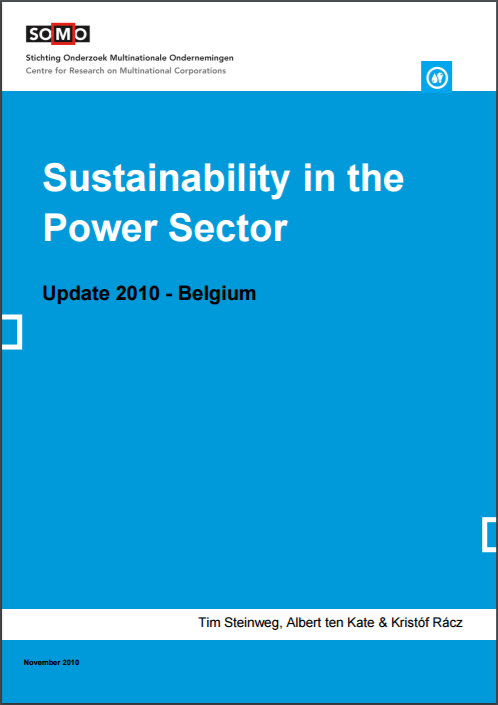 publication cover - Sustainability in the Power Sector 2010 Update – Belgium