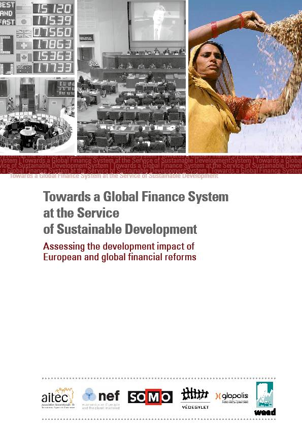 publication cover - Towards a Global Finance System at the Service of Sustainable Development