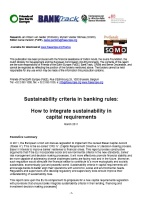 publication cover - Sustainability criteria in banking rules