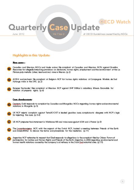publication cover - OECD Watch Quarterly Case Update June 2012