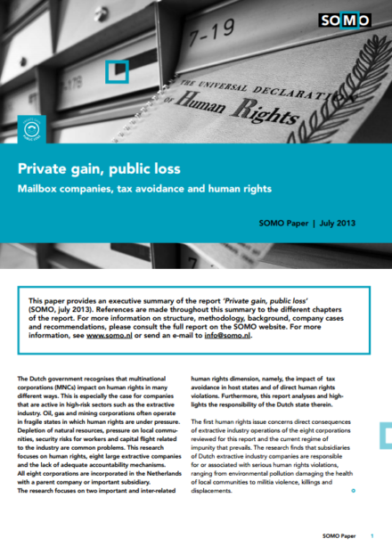 publication cover - Private gain, public loss (executive summary)