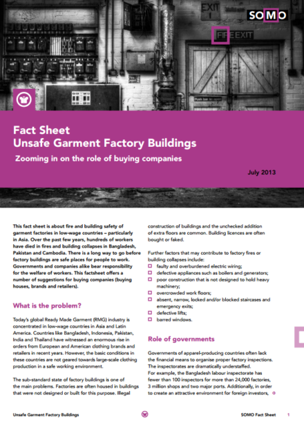 publication cover - Fact Sheet: Unsafe Garment Factory Buildings
