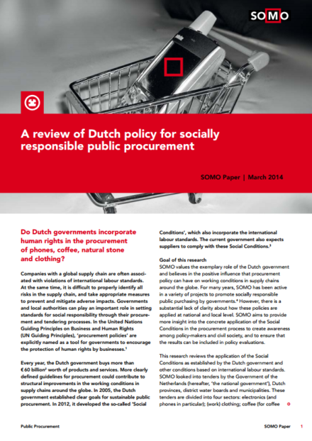 publication cover - A review of Dutch policy for socially responsible public procurement