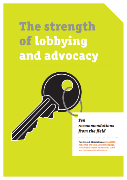 publication cover - The strength of lobbying and advocacy