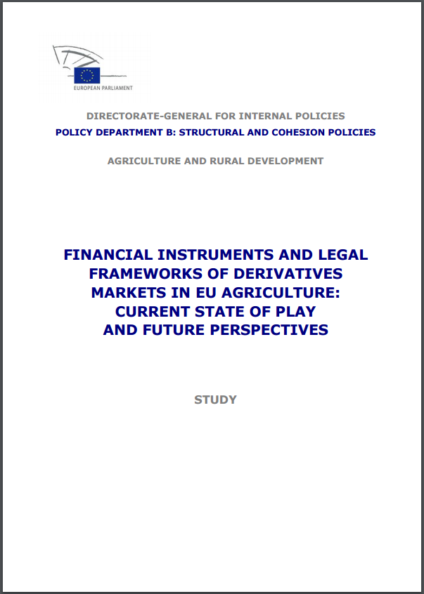 publication cover - Financial instruments and legal frameworks of derivatives markets in EU agriculture