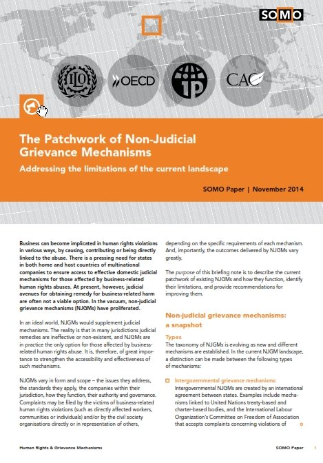 publication cover - The Patchwork of Non-Judicial Grievance Mechanisms