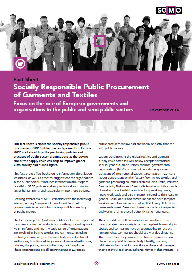 publication cover - Fact Sheet: Socially Responsible Public Procurement of Garments and Textiles