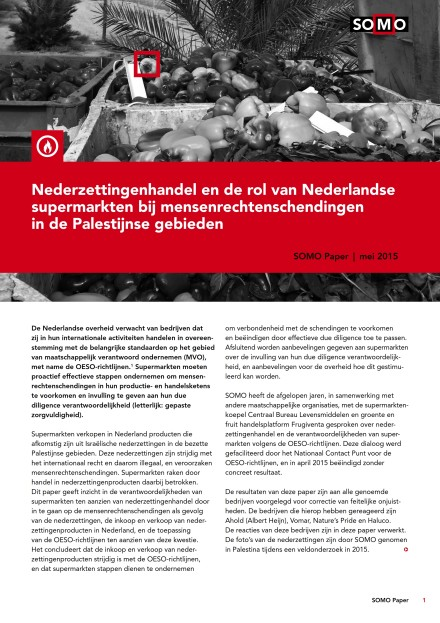 publication cover - Trading settlement products and the role of Dutch supermarkets in human rights violations