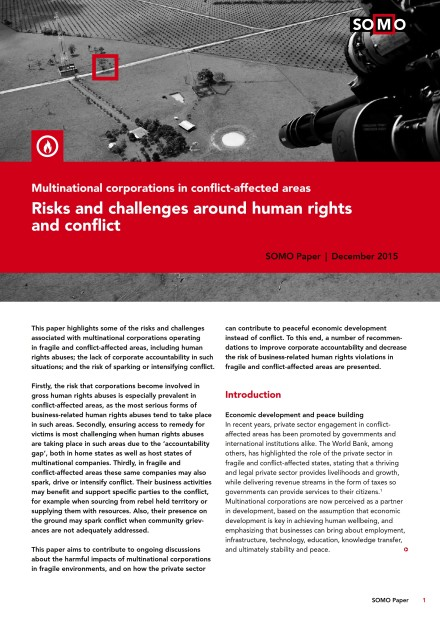 publication cover - Risks and challenges around human rights and conflict