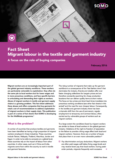publication cover - Fact Sheet: Migrant labour in the textile and garment industry