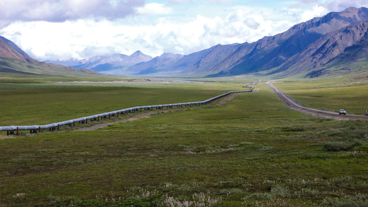 Large image on the SOMO homepage showing a pipeline in Alaska