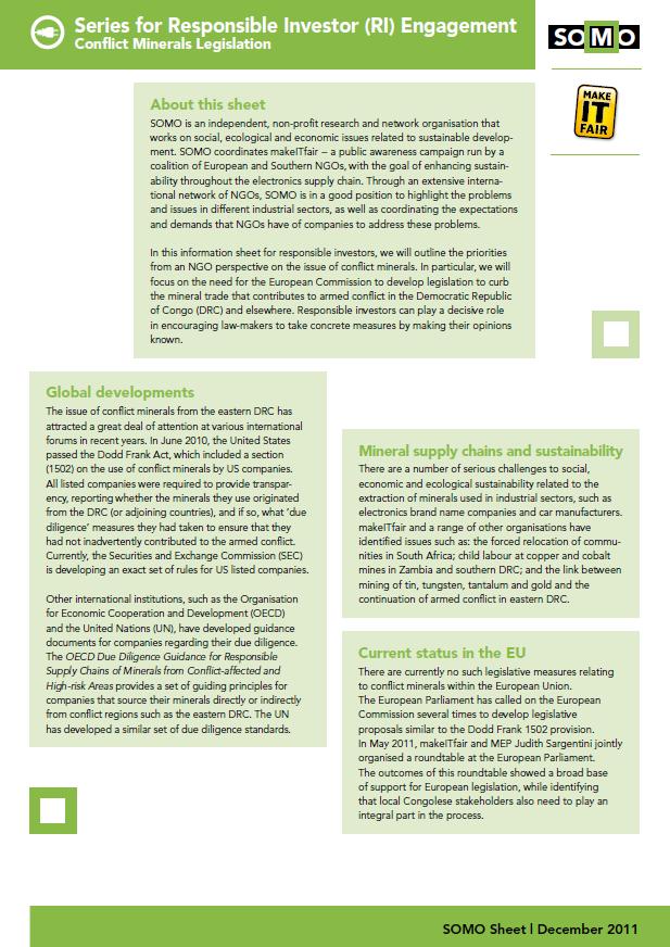 publication cover - Series for Responsible Investor (RI) Engagement: Conflict Minerals Legislation
