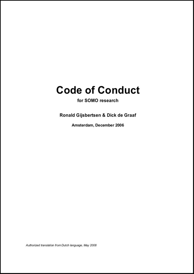 publication cover - SOMO Code of Conduct