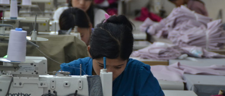 Worker at a garment factory in Myanmar.