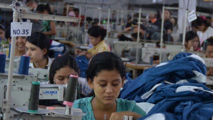 Workers at a garment factory in Myanmar.