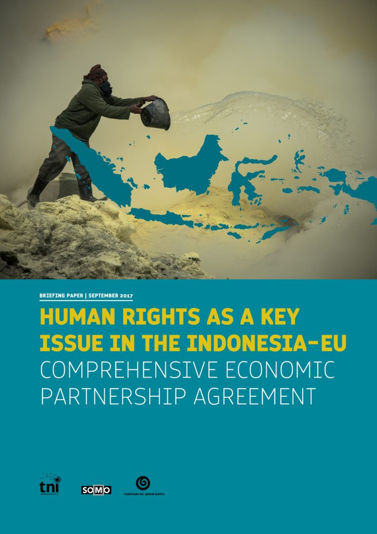 publication cover - Human rights as a key issue in the Indonesia-EU Comprehensive Economic Partnership Agreement