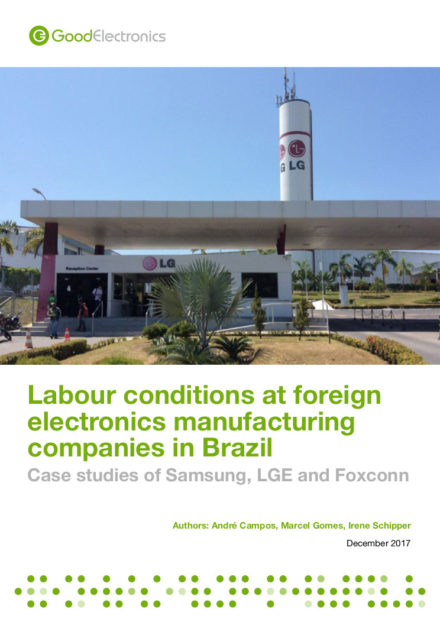 publication cover - Labour conditions at foreign electronics manufacturing companies in Brazil