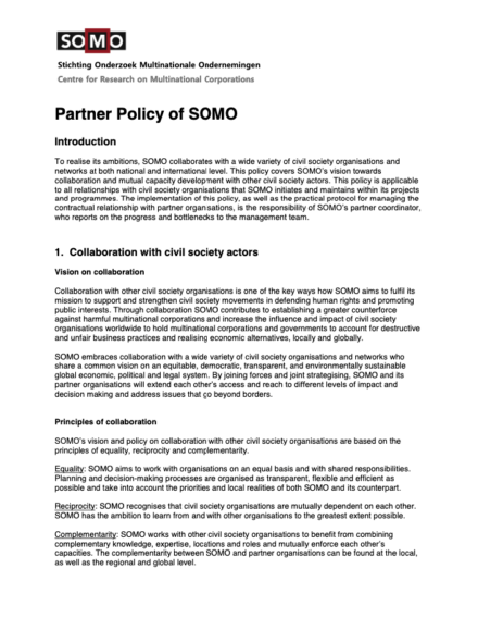 publication cover - Partner policy of SOMO