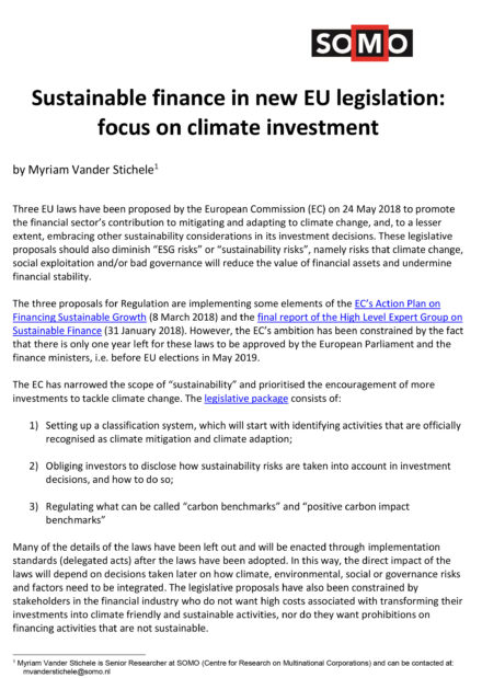 publication cover - Sustainable finance in new EU legislation: focus on climate investment