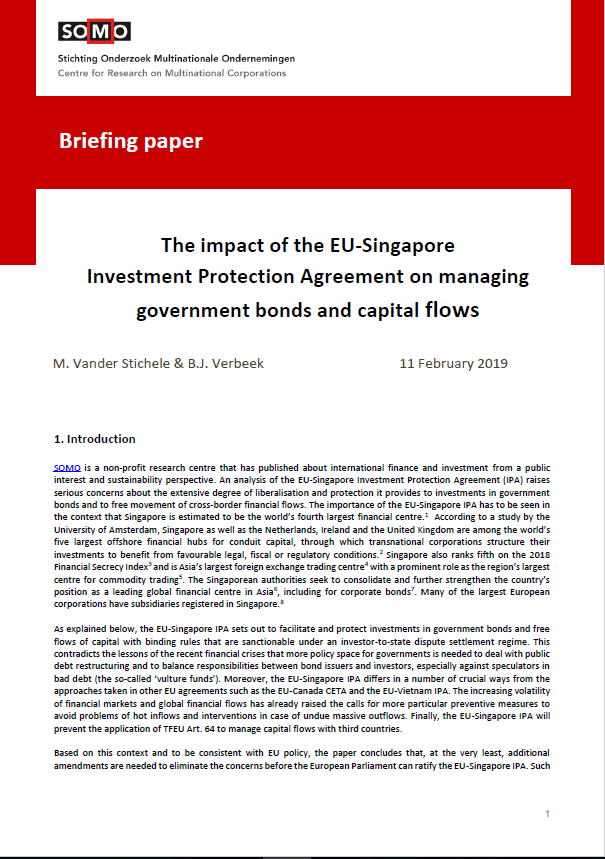 publication cover - The EU-Singapore Investment Protection Agreement