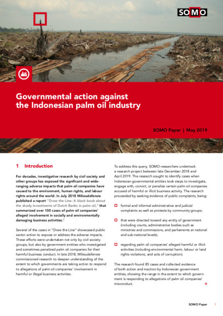 publication cover - Governmental action against the Indonesian palm oil industry
