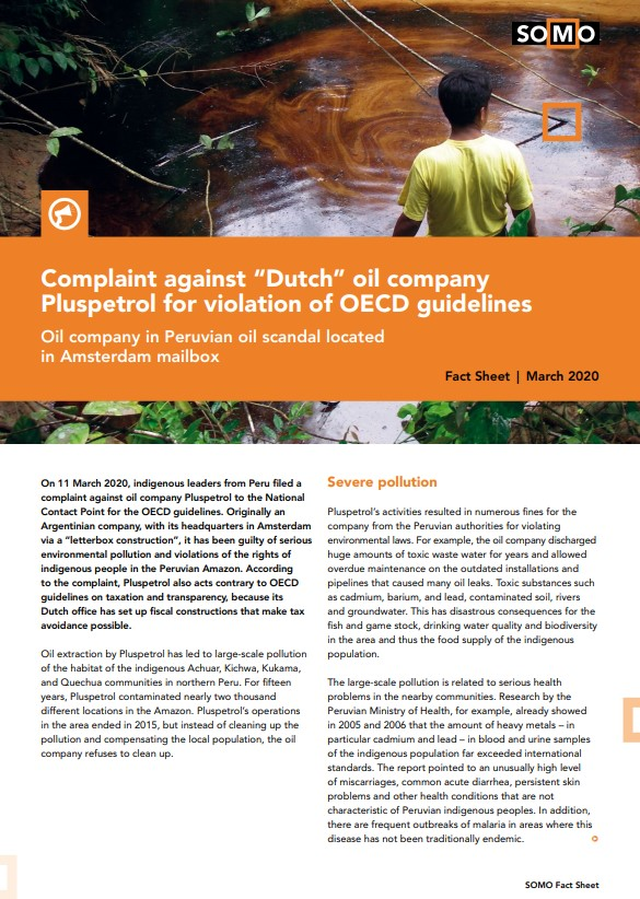 "publication cover - Complaint against ""Dutch"" oil company Pluspetrol for violation of OECD guidelines"