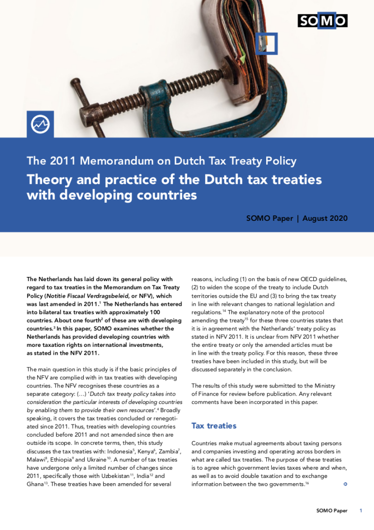 publication cover - Theory and practice of the Dutch tax treaties with developing countries