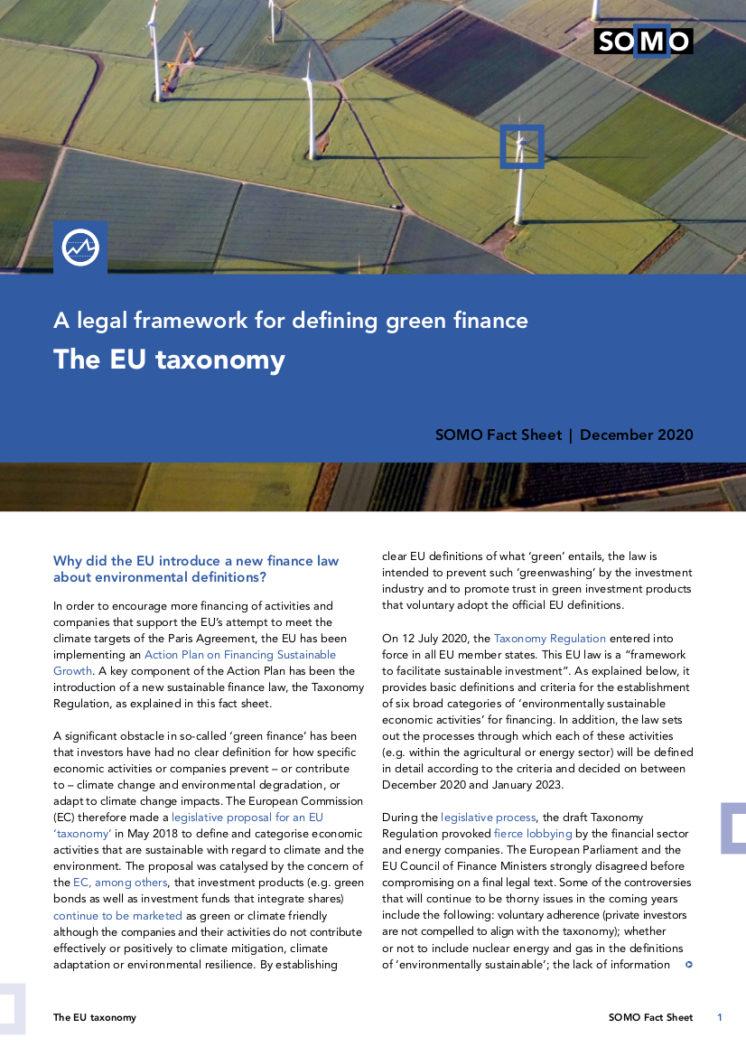 publication cover - The EU taxonomy