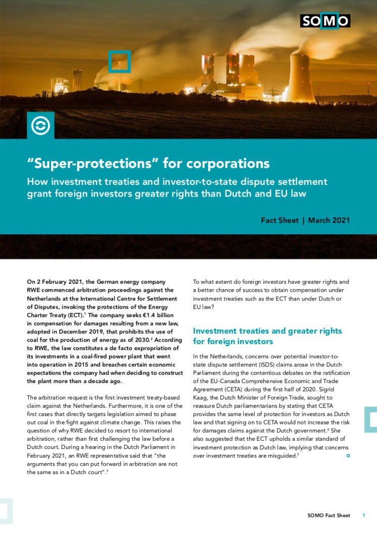 "publication cover - ""Super-protections"" for corporations"