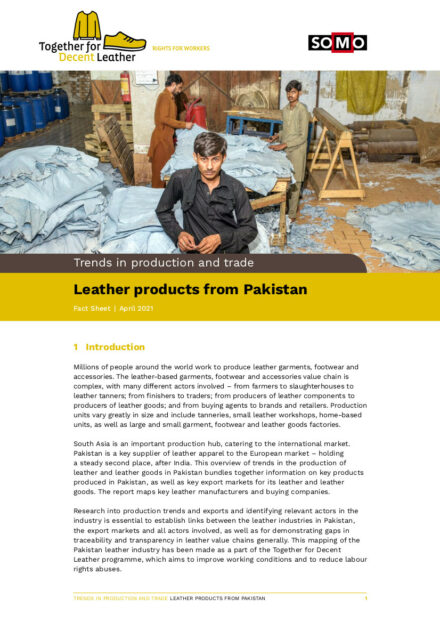 publication cover - Leather products from Pakistan