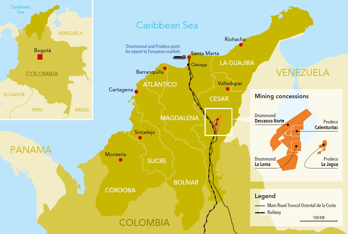 Map: Coal mining in Cesar, Colombia