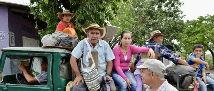 Displaced farmers at a commemoration of a massacre in the municipality of Becerril (2017)