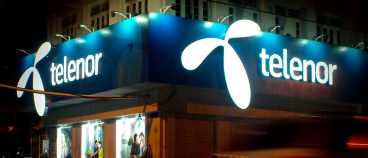Store of Norwegian telco Telenor in downtown Yangon, Myanmar, one of first three companies offering a cellphone network in the country.